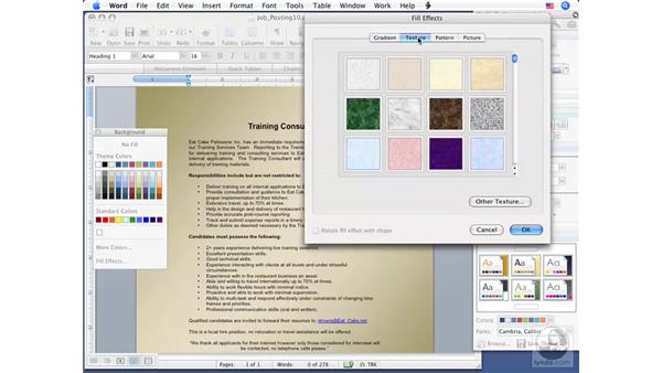 Applying a Page Background: Word 2008 for Mac Essential Training