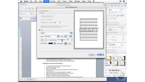 Using Watermarks: Word 2008 for Mac Essential Training
