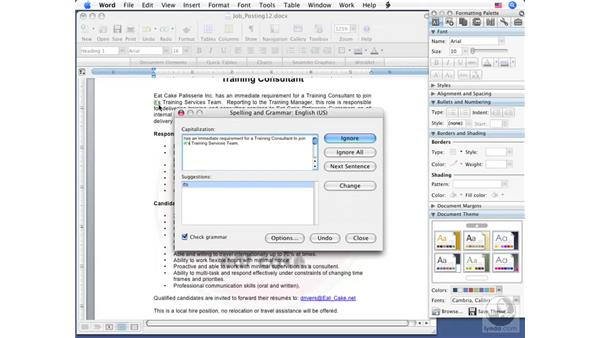 Checking spelling and grammar: Word 2008 for Mac Essential Training