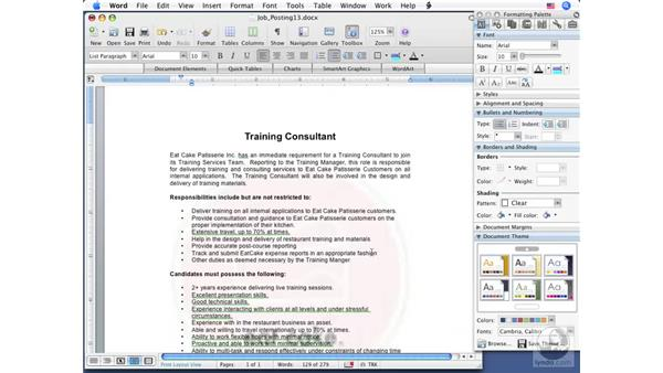 Finding synonyms: Word 2008 for Mac Essential Training