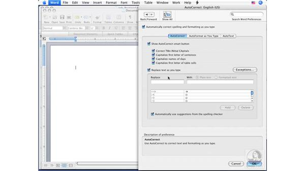 Setting document proofing options : Word 2008 for Mac Essential Training