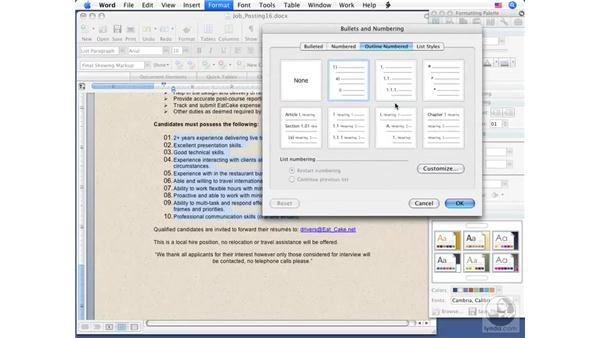 Creating a numbered list: Word 2008 for Mac Essential Training