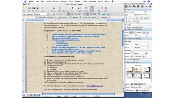 Editing a list: Word 2008 for Mac Essential Training