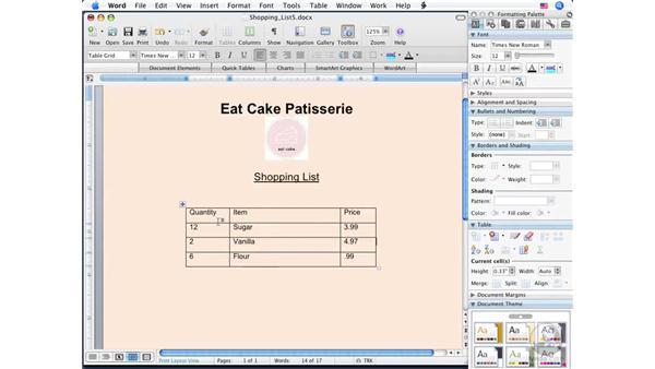 Modifying tables : Word 2008 for Mac Essential Training