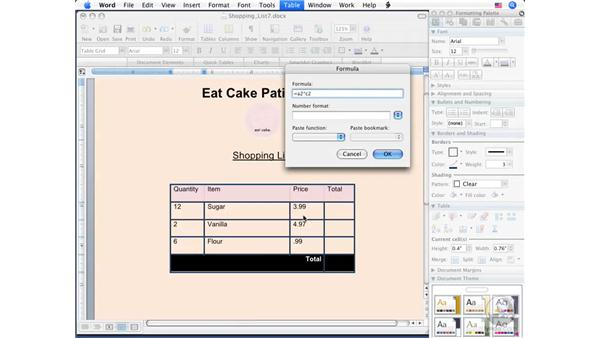 Making calculations in a table: Word 2008 for Mac Essential Training