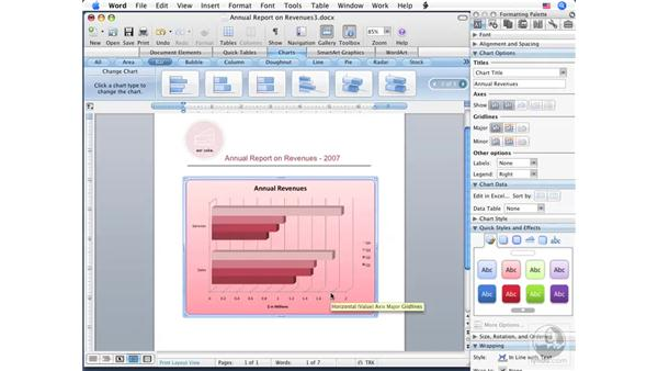 Modifying chart appearance: Word 2008 for Mac Essential Training