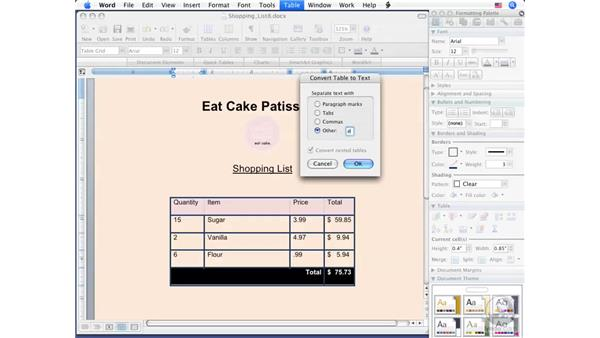 Creating text from a table: Word 2008 for Mac Essential Training