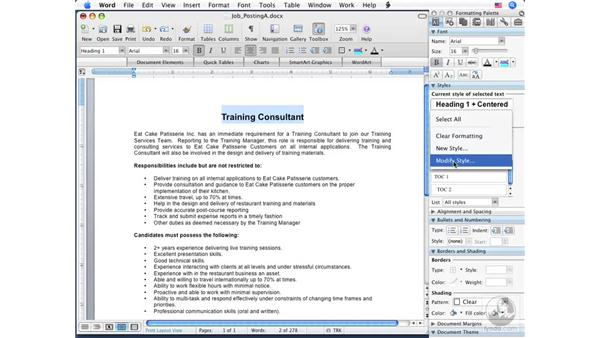 Using Styles: Word 2008 for Mac Essential Training