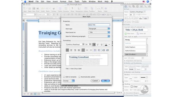 Creating Styles: Word 2008 for Mac Essential Training