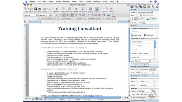 Editing and deleting Styles: Word 2008 for Mac Essential Training