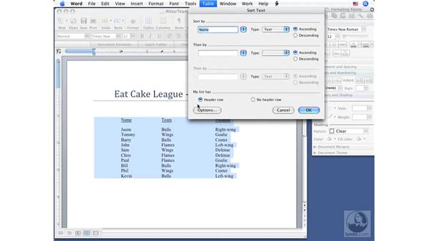 Sorting text: Word 2008 for Mac Essential Training