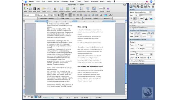 Using newspaper-style columns: Word 2008 for Mac Essential Training