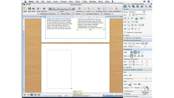 Columns in Publishing view: Word 2008 for Mac Essential Training
