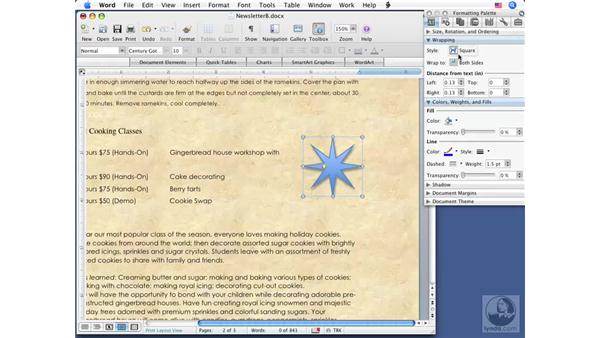 Working with shapes: Word 2008 for Mac Essential Training