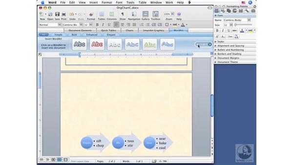 Using WordArt: Word 2008 for Mac Essential Training
