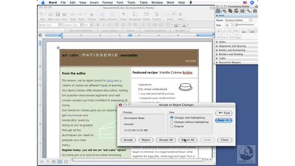 Reviewing changes: Word 2008 for Mac Essential Training
