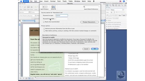Protecting documents with passwords: Word 2008 for Mac Essential Training