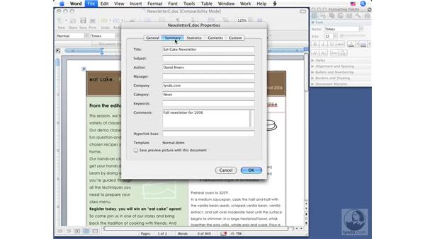 Hiding personal information: Word 2008 for Mac Essential Training