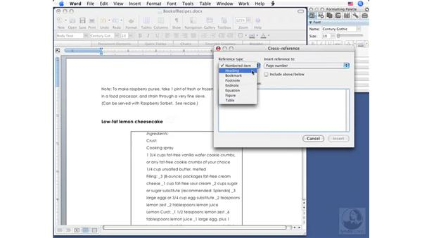 Creating cross references: Word 2008 for Mac Essential Training