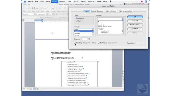 Creating an index: Word 2008 for Mac Essential Training