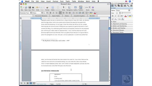 Creating footnotes and endnotes: Word 2008 for Mac Essential Training