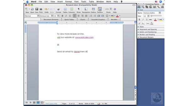 Using hyperlinks: Word 2008 for Mac Essential Training