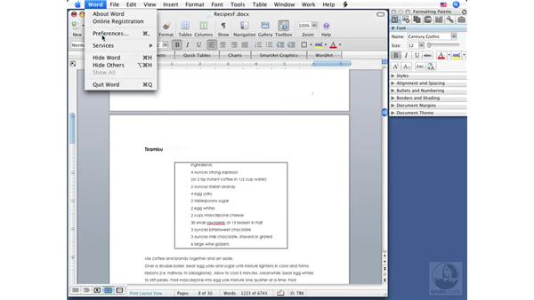 Using bookmarks: Word 2008 for Mac Essential Training