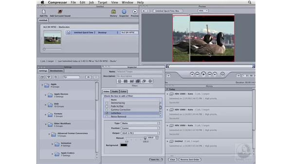 Creating a 16x9 letterbox from 4x3 footage: Compressor 3 Essential Training