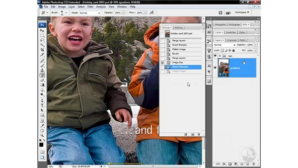 Erasing sharpening with the history brush: Photoshop CS3 Sharpening Images