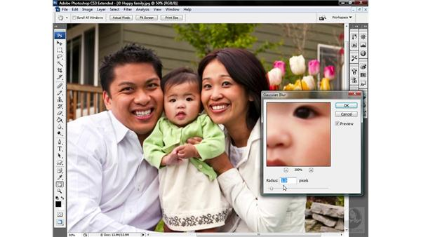 Using the Gaussian Blur filter: Photoshop CS3 Sharpening Images