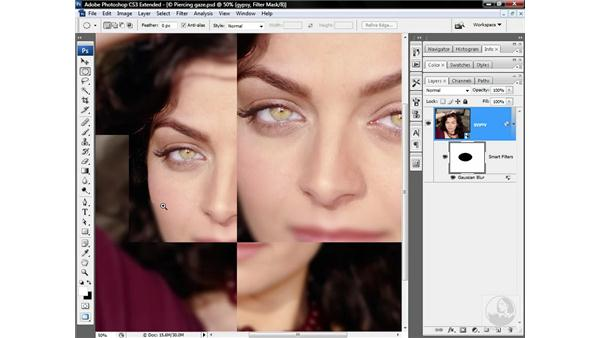 Blurring the area outside the eyes: Photoshop CS3 Sharpening Images