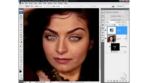 Darkening the lashes and eyebrows: Photoshop CS3 Sharpening Images