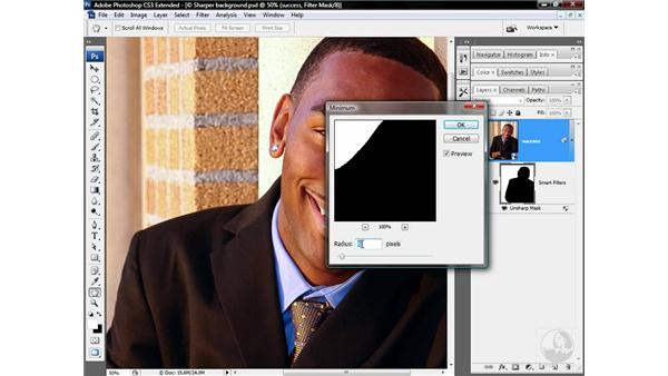 Eliminating halos around a person: Photoshop CS3 Sharpening Images