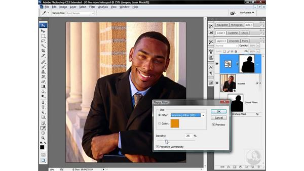 Deepening and warming a background: Photoshop CS3 Sharpening Images