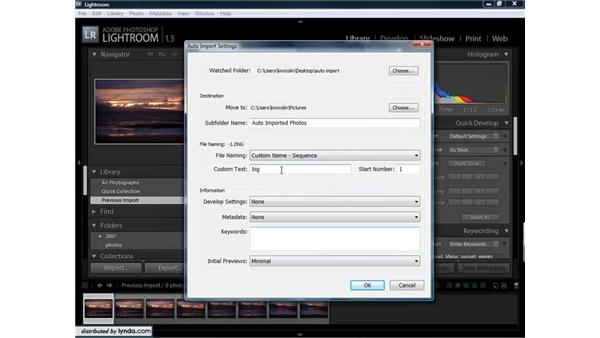 Setting up a watched folder to automatically import images: Lightroom 1.3 for Digital Photographers