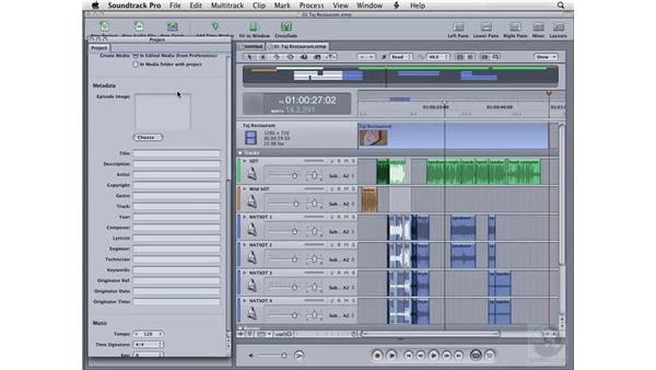 Working with the Project tab: Soundtrack Pro 2 Essential Training