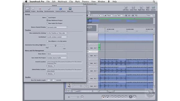 Setting system preferences: General tab: Soundtrack Pro 2 Essential Training