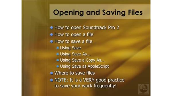 Opening and saving files: Soundtrack Pro 2 Essential Training