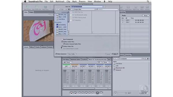 Saving files: Soundtrack Pro 2 Essential Training