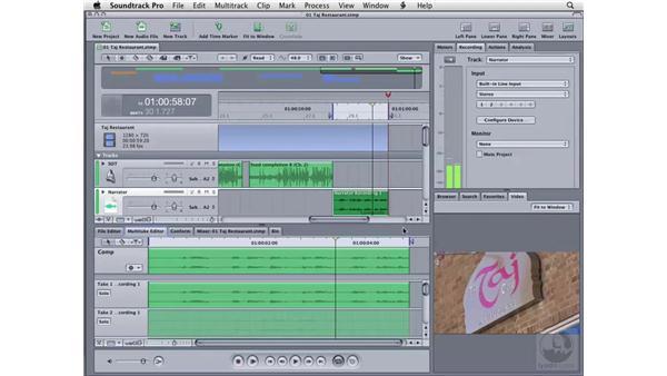 Creating a multitake clip: Soundtrack Pro 2 Essential Training