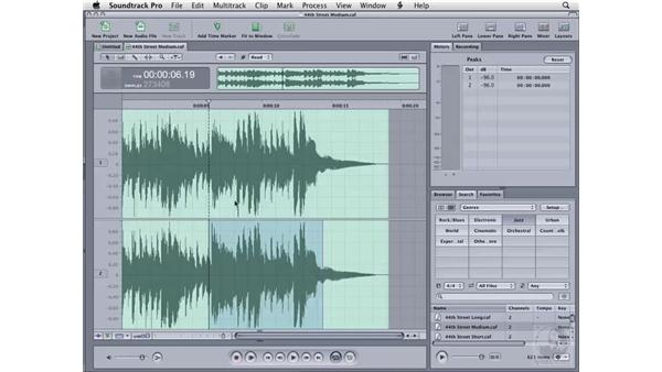 Selecting audio files: Soundtrack Pro 2 Essential Training