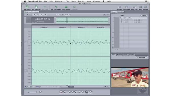 Working with waveforms and zero crossings: Soundtrack Pro 2 Essential Training