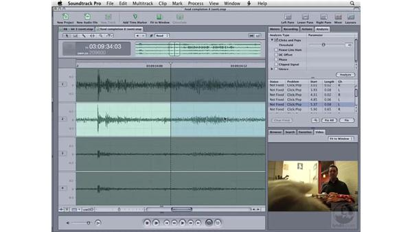 Cleaning up audio automatically using the Analysis tab: Soundtrack Pro 2 Essential Training