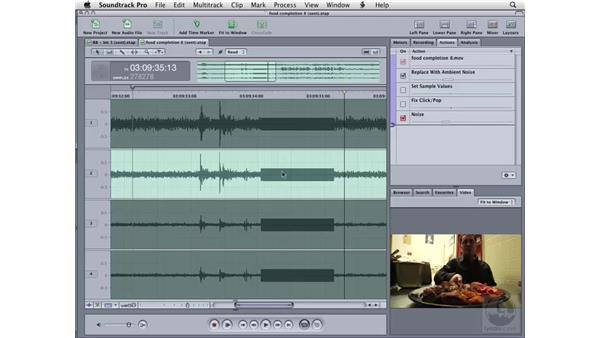 Cleaning up audio with silence and noise: Soundtrack Pro 2 Essential Training