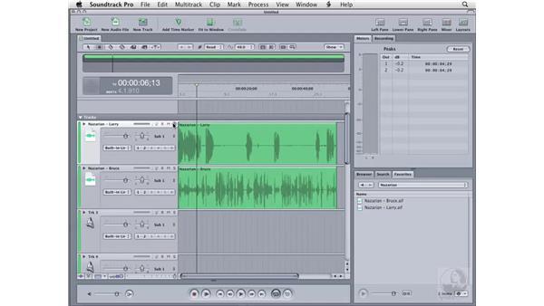 Multitrack editing: Soundtrack Pro 2 Essential Training