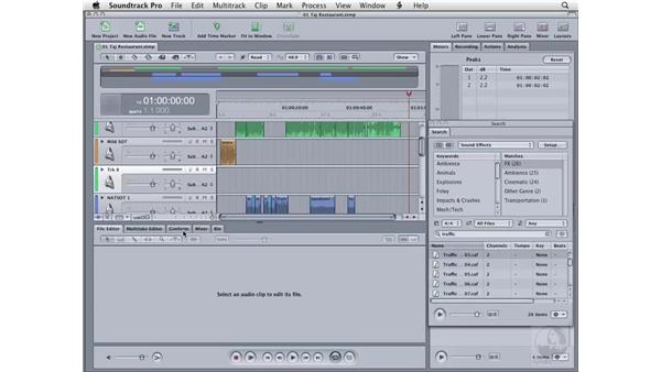 Three-point editing: Soundtrack Pro 2 Essential Training