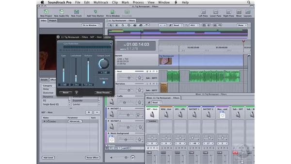 Using the Limiter filter: Soundtrack Pro 2 Essential Training