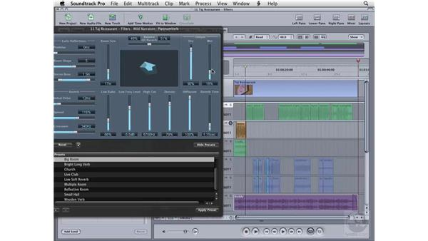 Using the Reverb filter: Soundtrack Pro 2 Essential Training