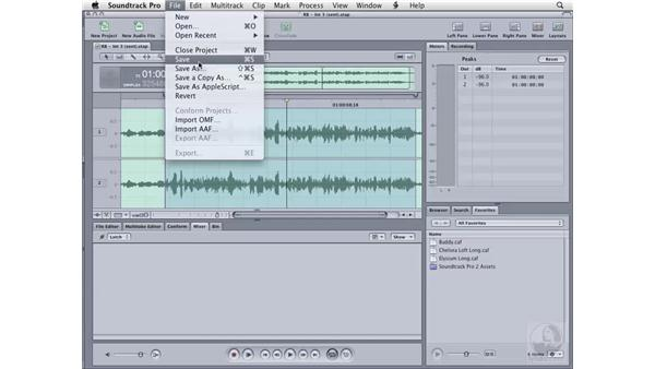 Exporting an audio file: Soundtrack Pro 2 Essential Training
