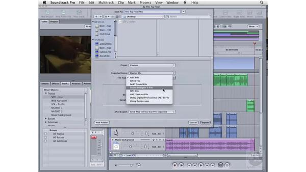 Exporting a multitrack project: Soundtrack Pro 2 Essential Training